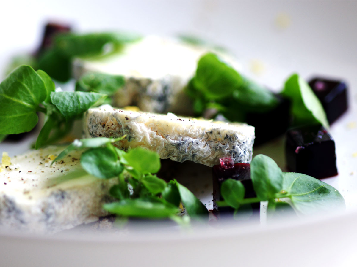 Goat's cheese, watercress and Beetroot jelly salad