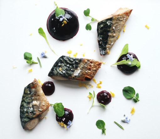 Pickled mackerel with beetroot jelly, rosemary and lemon